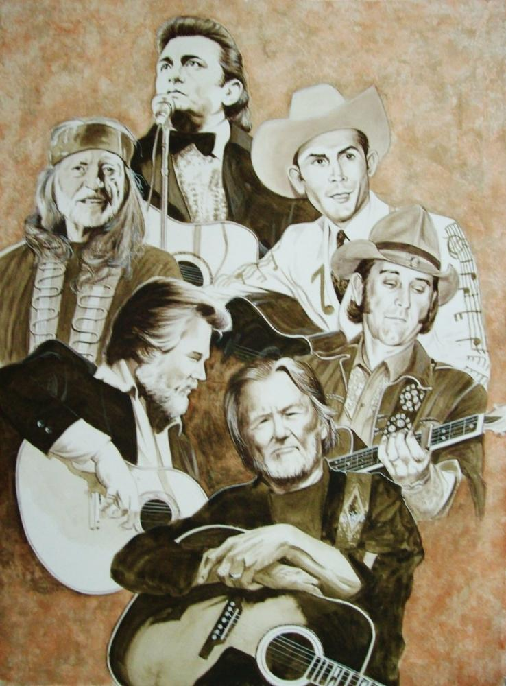 Johnny Cash, Willie Nelson, Hank Williams, Kenny Rogers, Don Williams, Kris Kristofferson by Tom-Heyburn